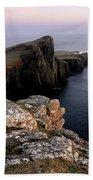 Neist Point Lighthouse, Isle Of Skye, Scotland Beach Sheet