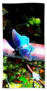 Neon Butterfly Beach Towel