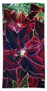 Neon Poinsettias Beach Towel