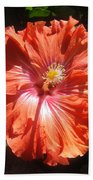 Neon-red Hibiscus 6-17 Beach Towel