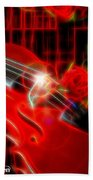 Neons Violin With Roses Beach Towel