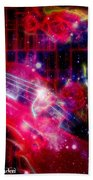 Neons Violin With Roses With Space Effect Beach Towel
