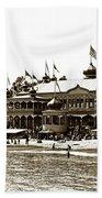 Neptune Casino And Onion-domed Bandstand, Santa Cruz Beach Circa 1904 Beach Towel