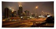 Never Sleeping Atlanta In Motion Midtown Light Trails Art Beach Towel