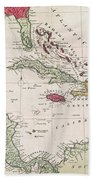 New And Accurate Map Of The West Indies Beach Towel by American School