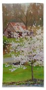 New Blossoms Old Barn Beach Towel