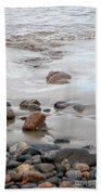 New England Beach With Rocks And Waves Beach Towel