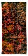 New England Fall Foliage Reflection Beach Towel