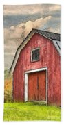 New England Red Barn Pencil Beach Towel