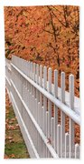 New England White Picket Fence With Fall Foliage Beach Towel