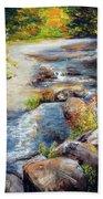 New Hampshire Creek In Fall Beach Sheet