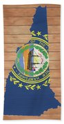 New Hampshire Rustic Map On Wood Beach Towel