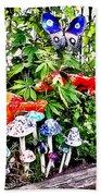 New Hope Pa - Garden Of Ceramic Mushrooms Beach Towel