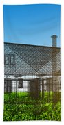 New House Wireframe Project On Green Field Beach Towel