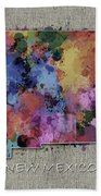 New Mexico Map Color Splatter 5 Beach Towel