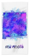 New Mexico Map Watercolor 2 Beach Towel
