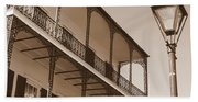 New Orleans Balcony With Lamp Beach Towel