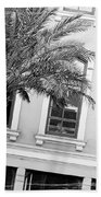 New Orleans Windows - Black And White Beach Towel