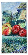 New Work Painted In Pointillism  Beach Towel