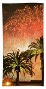 New Years Fireworks Finale San Francisco Beach Towel
