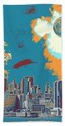 New York America  Skyline - Manhattan Beach Towel