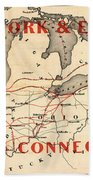 New York And Erie Railroad Map 1855 Beach Towel
