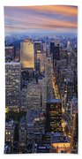 New York At Night Beach Towel