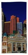 New York Casino At Night Beach Towel