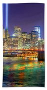 New York City Brooklyn Bridge Tribute In Lights Freedom Tower World Trade Center Wtc Manhattan Nyc Beach Towel