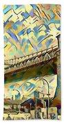 New York City - Brooklyn Bridge Watercolor Beach Towel