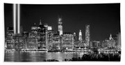 New York City Bw Tribute In Lights And Lower Manhattan At Night Black And White Nyc Beach Towel
