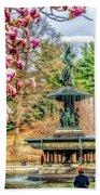 New York City Central Park Bethesda Fountain Blossoms Beach Towel