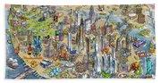 New York City Illustrated Map Beach Towel