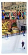 New York City Rockefeller Center Ice Rink Beach Towel