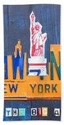 New York City Skyline License Plate Art Beach Towel by Design Turnpike