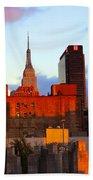 New York City Skyline Sunset Beach Towel