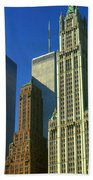 New York City - Woolworth Building And World Trade Center Beach Towel
