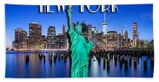 New York Classic Skyline With Statue Of Liberty Beach Towel