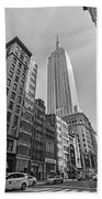 New York Fifth Avenue Taxis Empire State Building Black And White Beach Towel
