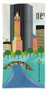 New York Horizontal Skyline - Central Park Beach Towel
