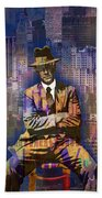 New York Man Seated City Background 1 Beach Towel