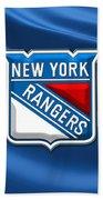 New York Rangers - 3d Badge Over Flag Beach Towel