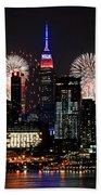 New York Skyline And Fireworks Beach Towel