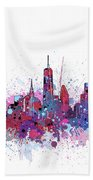 New York Skyline Color Splatter Beach Towel