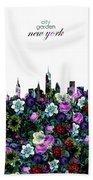 New York Skyline Floral 3 Beach Towel