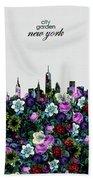 New York Skyline Floral 4 Beach Towel
