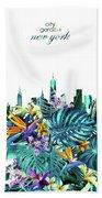 New York Skyline Floral  6 Beach Towel
