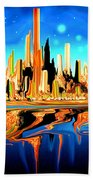 New York Skyline Blue Orange - Modern Art Beach Towel