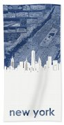 New York Skyline Map 2 Beach Towel