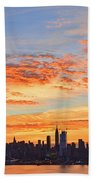 New York Skyline Sunrise Clouds And Color Beach Towel